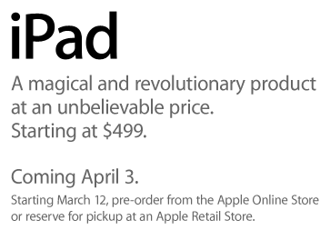 iPad Release Date Is announced