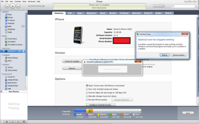 iTunes crashed