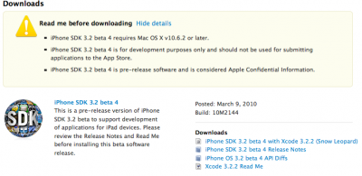 iPhone OS 3.2 SDK