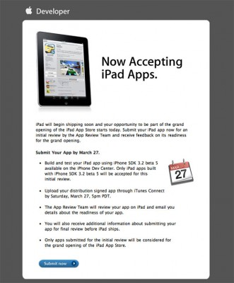 Apple started accepting apps for iPad