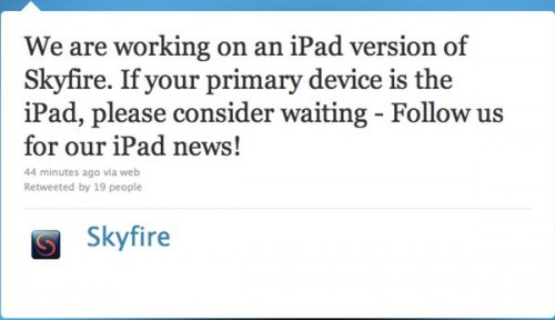 SkyFire for ipad1