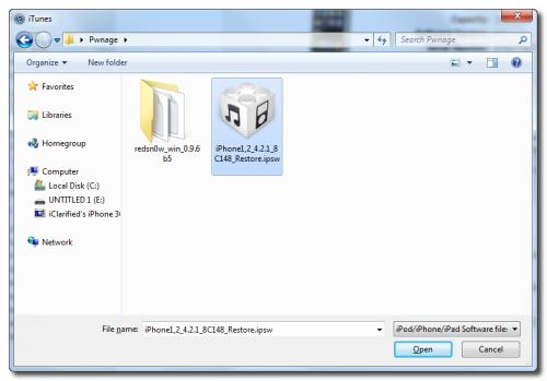 Пошаговое руководство: джейлбрейк и анлок iPhone 3G с помощью RedSn0w 0.9.6b5 (Windows) [iOS 4.2.1] (redsn0w 096b5 4 500x349)