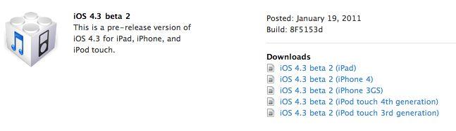 ios4.3 beta 2