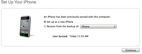 itunes new or backup 500x192 Step by step Tutorial: How to perform correct restore for iOS 6.1 jailbreak
