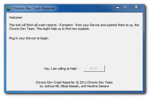 crashreporter Chronic Dev Team выпустила утилиту CrashReporter для Windows
