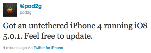 iphone4 untethered jailbreak Untethered Jailbreak for iPhone 4 with iOS 5.0.1 is possible