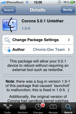 Corona untethered jailbreak for iOS 5.0.1 gets updated