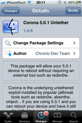 Corona 108 266x400 Update to Corona untethered jailbreak released