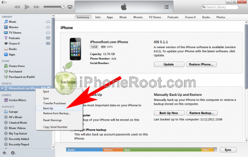 iTunes 11 iphone backup 500x316 Step by step Tutorial: How to perform correct restore for iOS 6.1 jailbreak