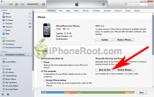 iTunes 11 iphone backup2 500x316 Step by step Tutorial: How to perform correct restore for iOS 6.1 jailbreak