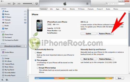 iTunes 11 iphone restore2 500x316 Step by step Tutorial: How to perform correct restore for iOS 6.1 jailbreak