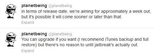 ios61 release date Planetbeing подтвердил скорый выход отвязанного джейлбрейка iOS 6.1