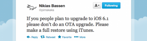 ios61 restore jail 500x142 Jailbreakers Should Update to iOS 6.1 Using iTunes, Not Using Software Update