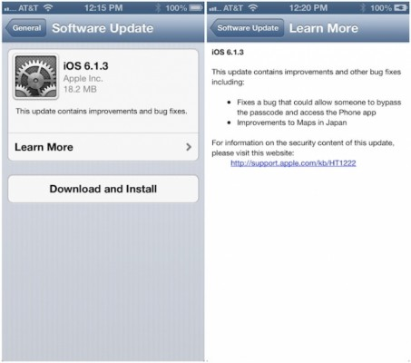 ios613 453x400 Apple Releases iOS 6.1.3 With Evasi0n Fix