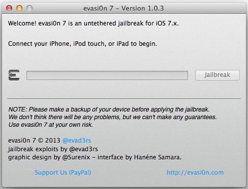 evasi0n7 1 0 3 released Evad3rs Release Evasi0n7 1.0.3 for OS X and Windows