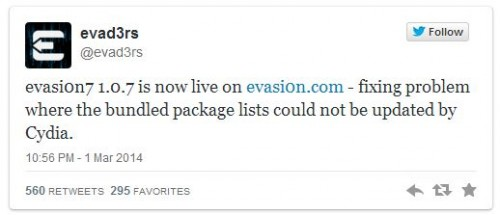 evasion 1.0.7 500x215 Evad3rs Release Evasi0n7 1.0.7 with Fix for Bundled Package List Issue